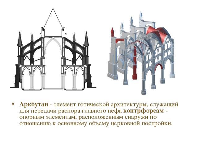Аркбутан - элемент готической архитектуры, служащий для передачи распора главного нефа контрфорсам - опорным элементам, расположенным снаружи по отношению к основному объему церковной постройки.