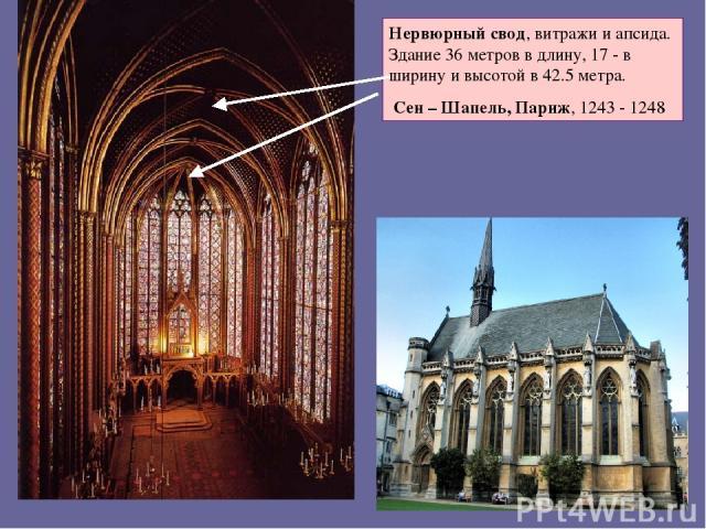 Нервюрный свод, витражи и апсида. Здание 36 метров в длину, 17 - в ширину и высотой в 42.5 метра. Сен – Шапель, Париж, 1243 - 1248
