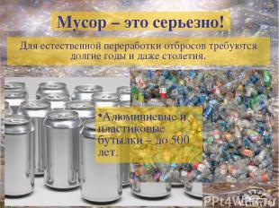 Мусор – это серьезно! Для естественной переработки отбросов требуются долгие год