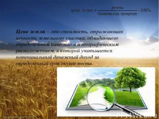 Цена земли– это стоимость, отражающая ценность земельного участка, обладающего