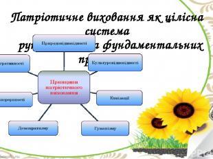 Патріотичне виховання як цілісна система ґрунтується на фундаментальних принципа