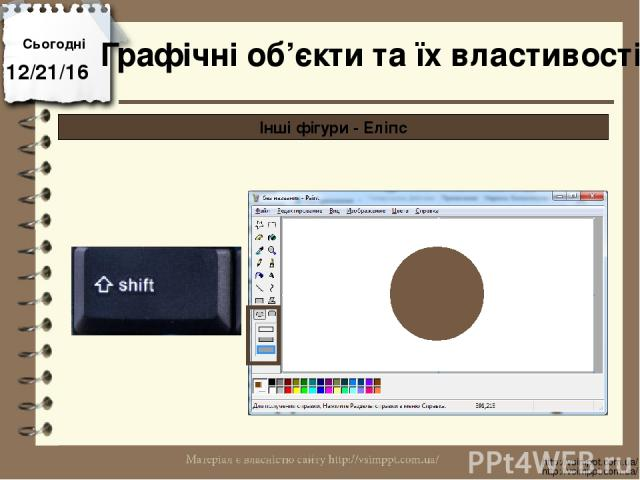 Сьогодні http://vsimppt.com.ua/ http://vsimppt.com.ua/ Графічні об'єкти та їх властивості Інші фігури - Еліпс