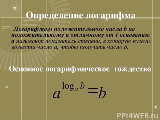 Определение логарифма Логарифмом положительного числа b по положительному и отличному от 1 основанию а называют показатель степени, в которую нужно возвести число а, чтобы получить число b. Основное логарифмическое тождество a b log а b =
