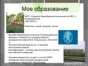 Мое образование МОУ «Средняя общеобразовательная школа №21» г. Северодвинска 199