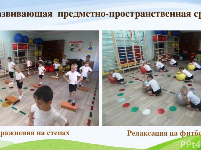 Развивающая предметно-пространственная среда Упражнения на степах Релаксация на фитболе