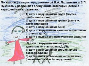 1) дети с нарушениями слуха (глухие, слабослышащие); 2) дети с нарушениями зрени
