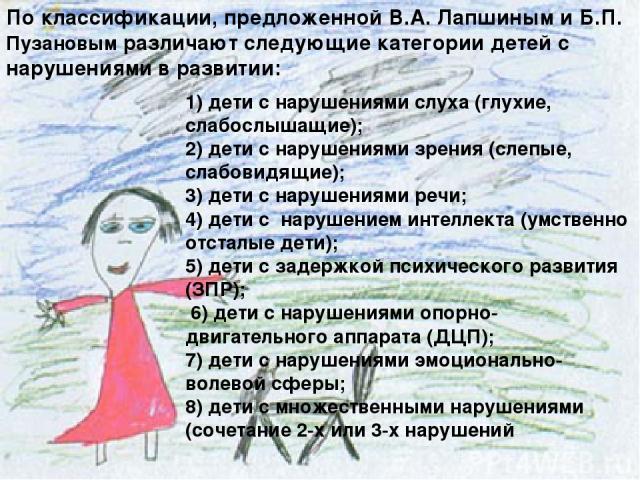1) дети с нарушениями слуха (глухие, слабослышащие); 2) дети с нарушениями зрения (слепые, слабовидящие); 3) дети с нарушениями речи; 4) дети с нарушением интеллекта (умственно отсталые дети); 5) дети с задержкой психического развития (ЗПР); 6) дети…