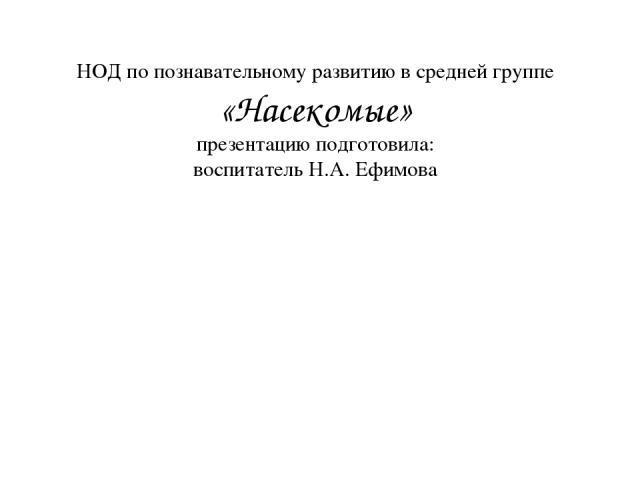 НОД по познавательному развитию в средней группе «Насекомые» презентацию подготовила: воспитатель Н.А. Ефимова
