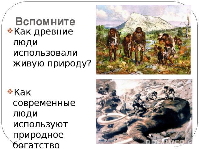Вспомните Как древние люди использовали живую природу? Как современные люди используют природное богатство Земли?