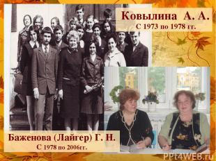 * Ковылина А. А. С 1973 по 1978 гг. Баженова (Лайгер) Г. Н. С 1978 по 2006гг.
