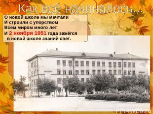 О новой школе мы мечтали И строили с упорством Всем миром много лет И 2 ноября 1