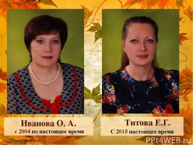 Иванова О. А. с 2004 по настоящее время Титова Е.Г. С 2015 настоящее время