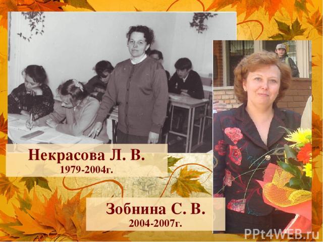 Некрасова Л. В. 1979-2004г. Зобнина С. В. 2004-2007г.