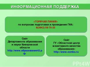 «ГОРЯЧАЯ ЛИНИЯ» по вопросам подготовки и проведения ГИА: 8(3842) 58-70-25 Сайт Г