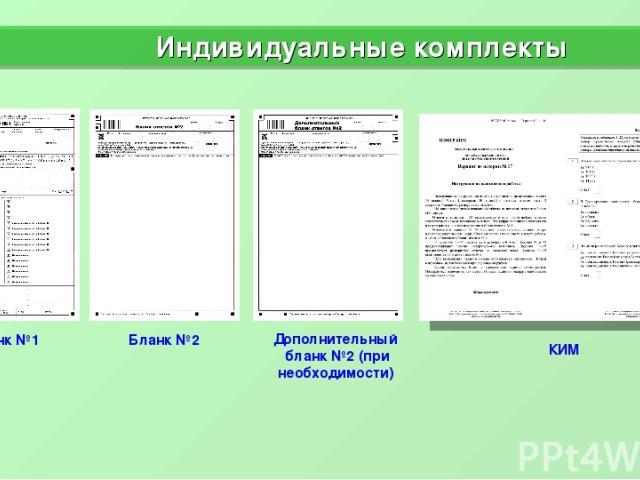 Бланк №1 Бланк №2 Дополнительный бланк №2 (при необходимости) Индивидуальные комплекты КИМ *