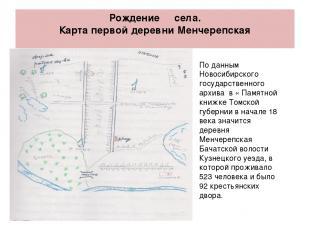 Рождение села. Карта первой деревни Менчерепская По данным Новосибирского госуда