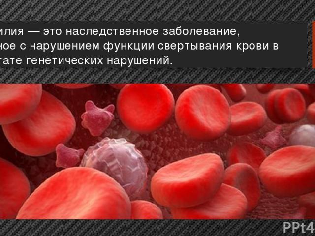 Гемофилия — это наследственное заболевание, связанное с нарушением функции свертывания крови в результате генетических нарушений.