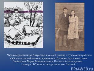 Чуть севернее посёлка Антропово, на самой границе с Чухломским районом в ХХ веке
