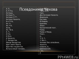 Псевдонимы Чехова А. П., А. П.Ч-в, Антоша, Антоша Ч., Антоша Ч.***, Антоша Чехон