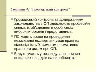 """Стаття 41 """"Громадський контроль"""" Громадський контроль за додержанням законодавст"""