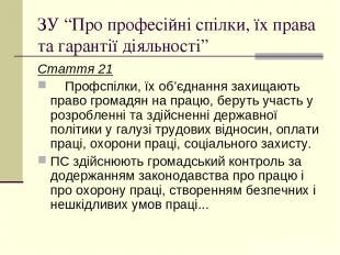 """ЗУ """"Про професійні спілки, їх права та гарантії діяльності"""" Стаття 21 Профспілки"""