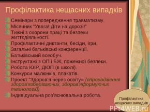 """Профілактика нещасних випадків Семінари з попередження травматизму. Місячник """"Ув"""