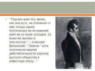 """"""" Пушкин взял эту жизнь, как она есть, не отвлекая от нее только одних поэтическ"""