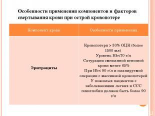 Особенности применения компонентов и факторов свертывания крови при острой крово