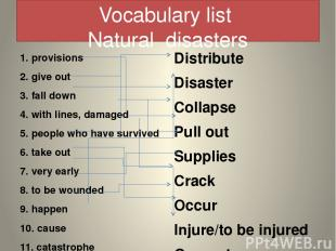 Vocabulary list Natural disasters 1. provisions 2. give out 3. fall down 4. with