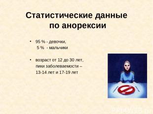 Статистические данные по анорексии 95 % - девочки, 5 % - мальчики возраст от 12