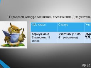 Городской конкурс сочинений, посвященных Дню учителя. ФИ, класс Статус Учитель К