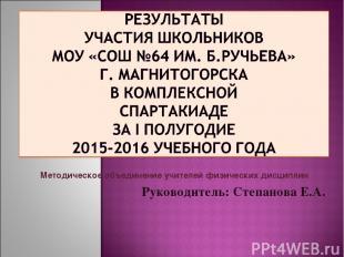 Методическое объединение учителей физических дисциплин Руководитель: Степанова Е