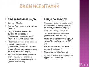Обязательные виды Бег на 100 м (с) Бег на 2 км (мин, с) или на 3 км (мин, с) Под