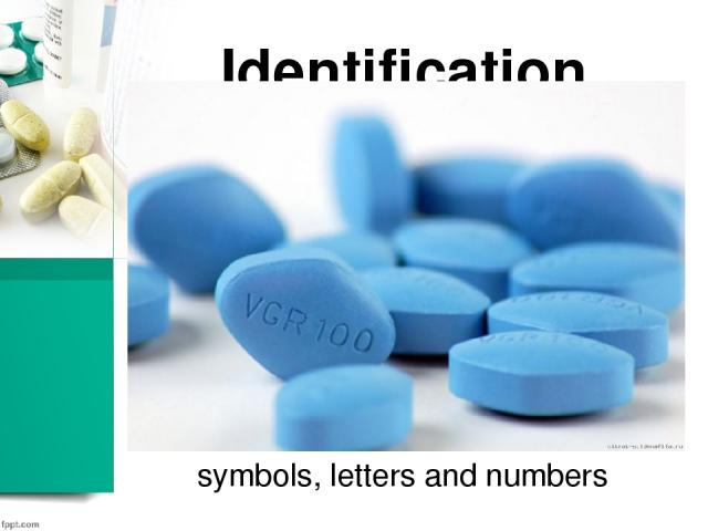 Identification symbols, letters and numbers