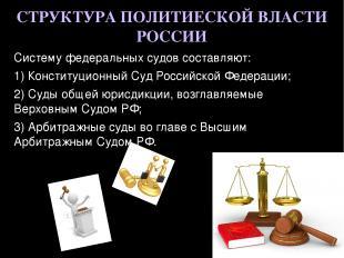 СТРУКТУРА ПОЛИТИЕСКОЙ ВЛАСТИ РОССИИ Систему федеральных судов составляют: 1) Кон