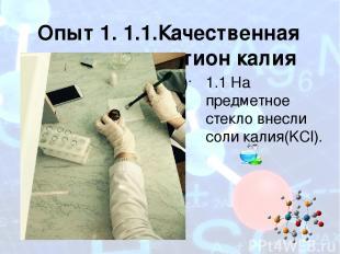 Опыт 1. 1.1.Качественная реакция на катион калия (К+) 1.1 На предметное стекло в