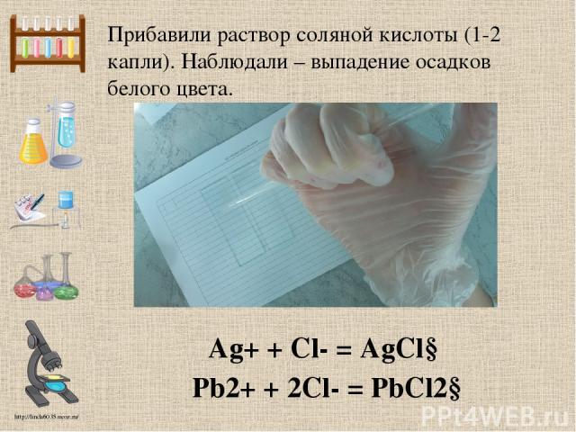 Прибавили раствор соляной кислоты (1-2 капли). Наблюдали – выпадение осадков белого цвета. Ag+ + Cl- = AgCl↓ Pb2+ + 2Cl- = PbCl2↓ http://linda6035.ucoz.ru/