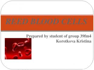 Prepared by student of group 39fm4 Korotkova Kristina Bryansk 2015 REED BLOOD CE
