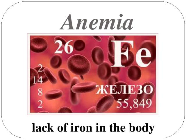 Anemia lack of iron in the body