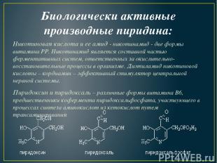 Биологически активные производные пиридина: Никотиновая кислота и ее амид -нико