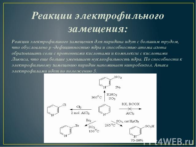 Реакции электрофильного замещения: Реакции электрофильного замещения для пиридина идут с большим трудом, что обусловленоp-дефицитностью ядра и способностью атома азота образовывать соли с протонными кислотами и комплексы с кислотами Льюиса, что ещ…
