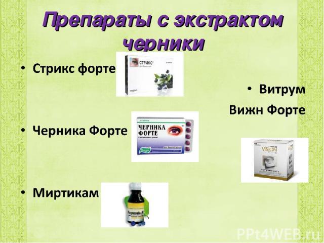 Препараты с экстрактом черники