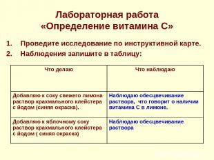 Лабораторная работа «Определение витамина С» Проведите исследование по инструкти