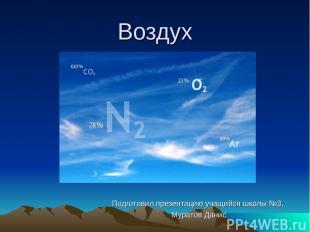 Воздух Подготовил презентацию учащийся школы №3, Муратов Данис