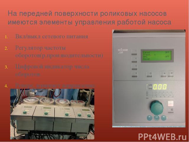 На передней поверхности роликовых насосов имеются элементы управления работой насоса Вкл/выкл сетевого питания Регулятор частоты оборотов(р.производительности) Цифровой индикатор числа оборотов Реверс, изменяет направление вращения роликов