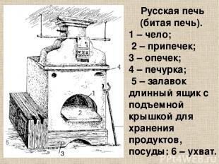 Русская печь (битая печь).  1 – чело; 2 – припечек; 3 – опечек; 4 – печурка; 5