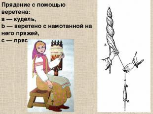 Прядение с помощью веретена: a— кудель, b— веретено с намотанной на него пряже