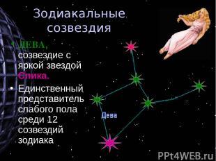 Зодиакальные созвездия ДЕВА, созвездие с яркой звездой Спика. Единственный предс