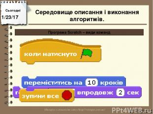 Сьогодні http://vsimppt.com.ua/ http://vsimppt.com.ua/ Програма Scratch – види к