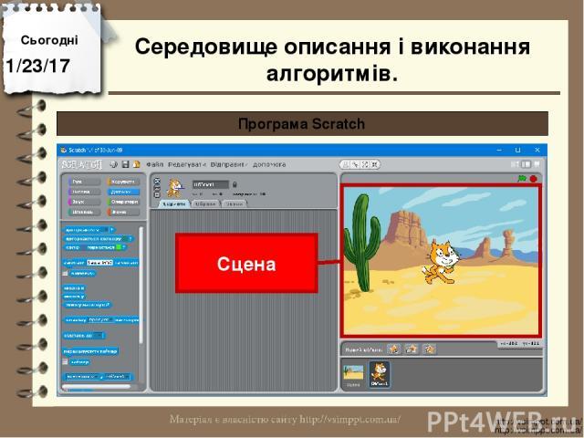 Сьогодні http://vsimppt.com.ua/ http://vsimppt.com.ua/ Програма Scratch Сцена Середовище описання і виконання алгоритмів.